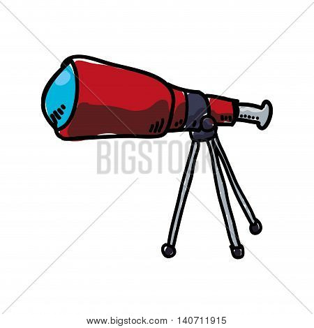 Science and space concept represented by telescope icon. Isolated and sketch illustration
