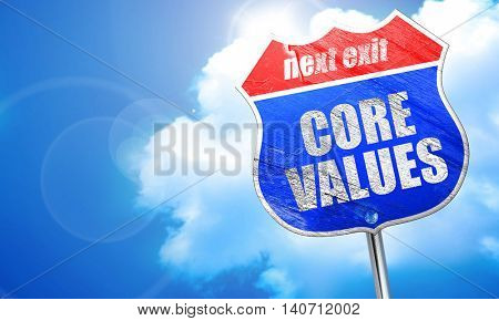 core values, 3D rendering, blue street sign