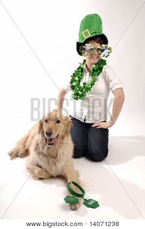 Young Pretty Woman, Dog And St. Patrick's