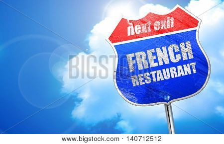 Delicious french cuisine, 3D rendering, blue street sign