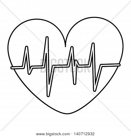 flat design heart with cardiogram icon vector illustration