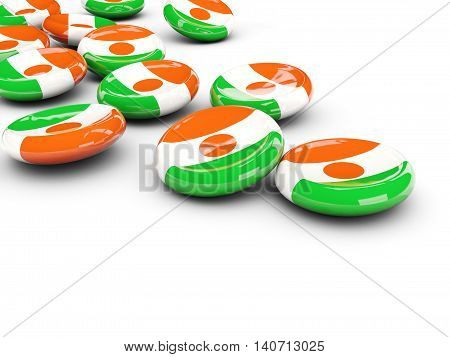 Flag Of Niger, Round Buttons