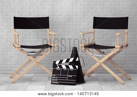 Director Chairs Movie Clapper and Megaphone in front of Brick Wall. 3d Rendering