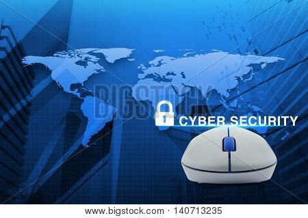 Wireless computer mouse with key icon and cyber security text over map and city tower background Elements of this image furnished by NASA