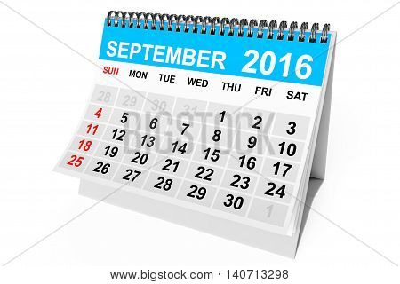 2016 year calendar. September calendar on a white background. 3d Rendering