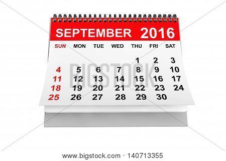 2016 year calendar. September calendar on a white background. 3d rendering
