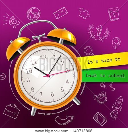 Its Time To Back To School Sale Background With Alarm Clock And Blackboard, Vector Illustration. Gre