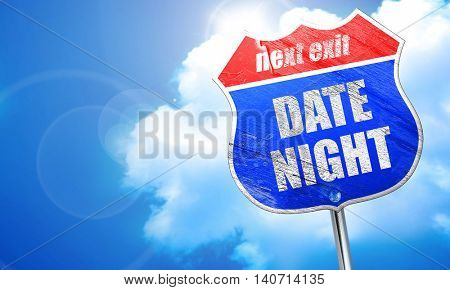 date night, 3D rendering, blue street sign