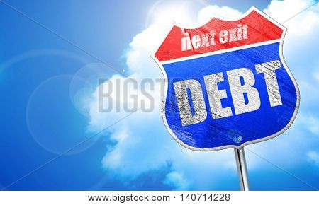 Debt sign with some smooth lines, 3D rendering, blue street sign