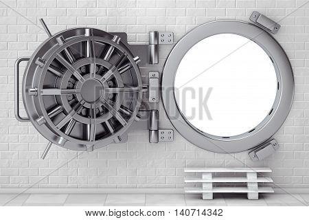 Metallic Bank Vault Door in front of Brick Wall. 3d Rendering
