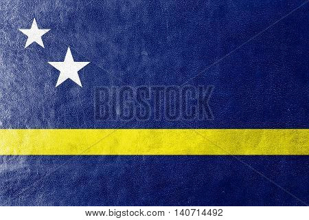 Flag Of Curacao, Painted On Leather Texture