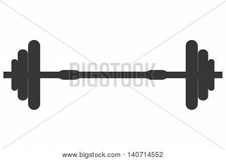 flat design single barbell icon vector illustration