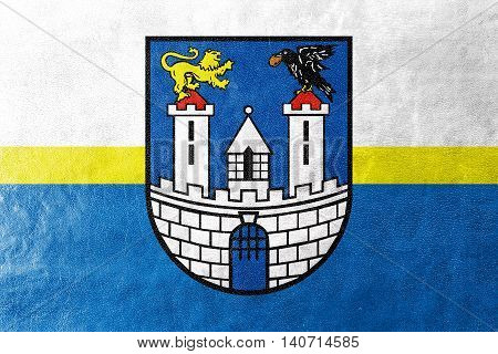 Flag Of Czestochowa With Coat Of Arms, Poland, Painted On Leather Texture