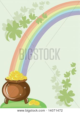 St patricks day, gold pot and rainbow