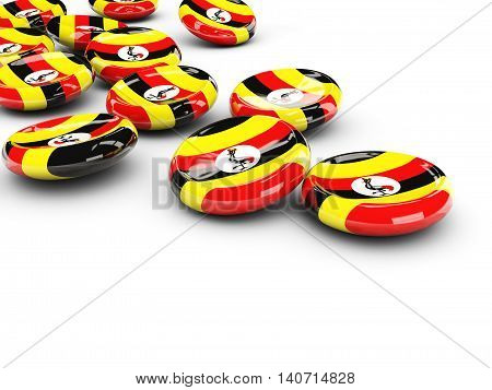 Flag Of Uganda, Round Buttons