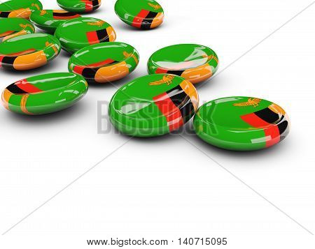 Flag Of Zambia, Round Buttons