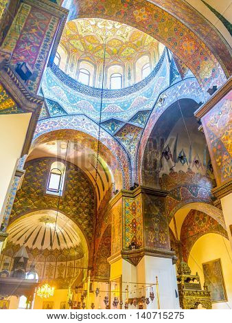 VAGHARSHAPAT ARMENIA - MAY 30 2016: The Etchmiadzin Cathedral boasts unique interior with complex decors on May 30 in Vagharshapat.