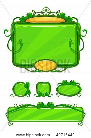 Beautiful girlish green game user interface including different buttons and information panel. Princess style gui vector assets, isolated on white