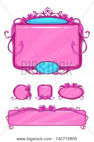 Beautiful girlish pink game user interface including different buttons and information panel. Princess style gui vector assets, isolated on white