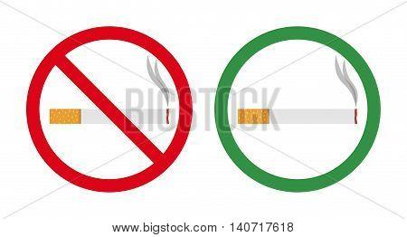 No smoking and smoking area. Vector illustration.