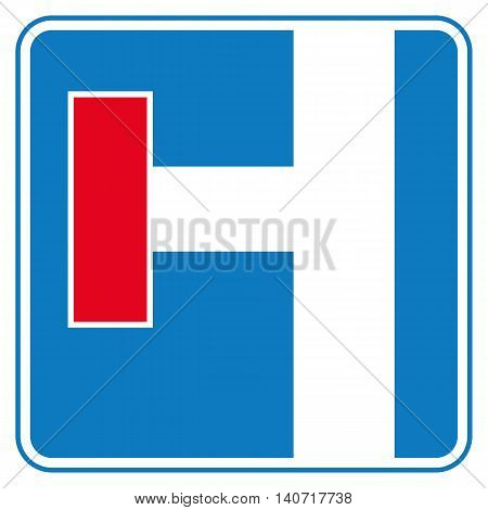 Traffic sign no through road. Left side. Vector illustration.