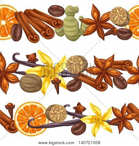 Seamless borders with various spices. Illustration of anise, cloves, vanilla, ginger and cinnamon.