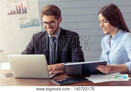Beautiful Business Couple Working