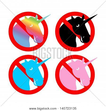 Ban Unicorn. Stop Magical Animal. Prohibited Sexual Symbol Lgbt Community. Strikethrough Magic Beast