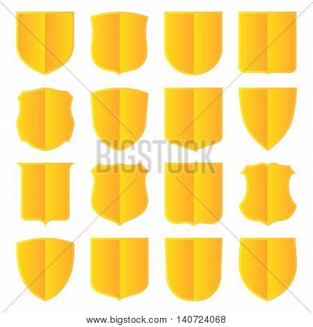 Set of sixteen golden shields. Vector, isolated eps 10