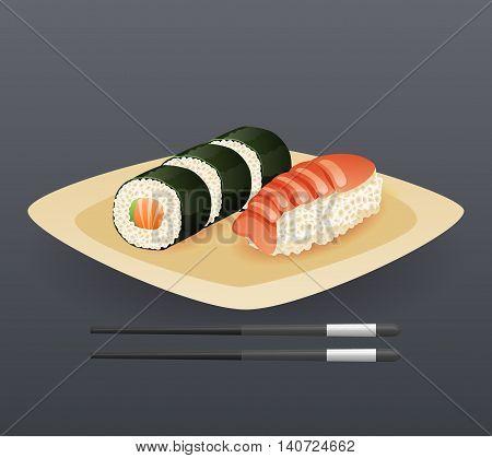 Realistic Sushi Roll Plate Sticks Fast Food Icon Cartoon Symbol Template Vector Illustration