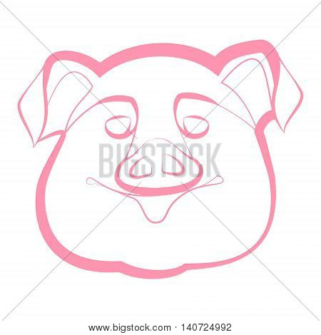 smiling pig snout on a white background