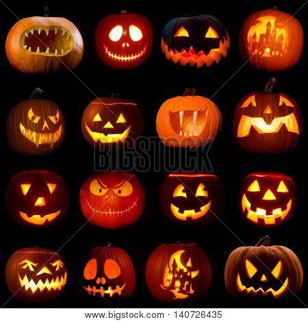 Set of glowing jack-o-lantern pumpkins isolated on black background