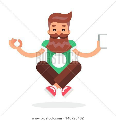 New Smartphone Mobile Technology Enlightenment Hipster Geek Cartoon Symbol Flat Design Template Vector Illustration