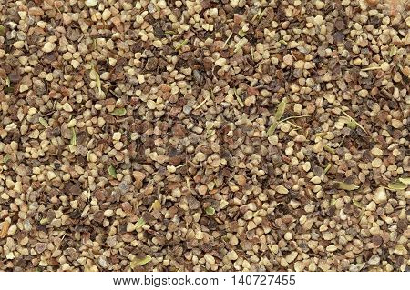 Organic Black pepper (Piper nigrum) peppercorns in big cut size. Macro close up background texture. Top view.
