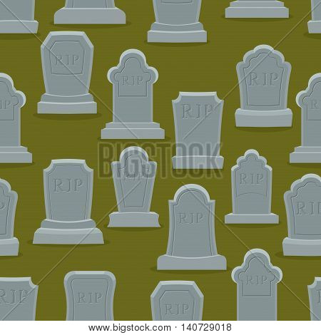 Tombstone Seamless Pattern. Old Gravestone Ornament. Cemetery Background. Rip Texture. Grave Ancient