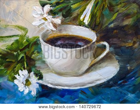 Painting Texture Oil Painting Still Life, A Cup Of Coffee Drink Impressionism Art