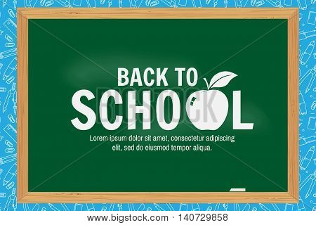 Back To School Typographical Background On Chalkboard.