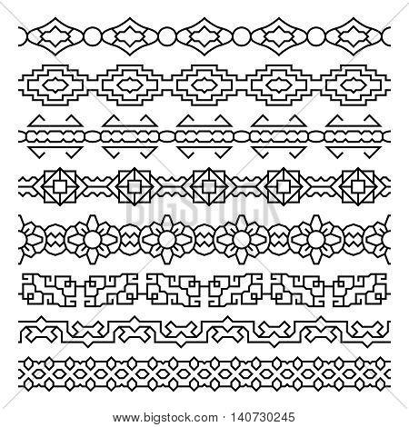 Asian border and frame ornaments. Chinese, japanese, korean vector patterns set