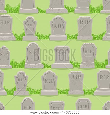 Old Gravestone Ornament. Tomb Seamless Pattern. Cemetery Background. Rip Texture. Grave Ancient. Tom