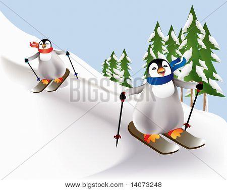 Penguin skiing and having fun.