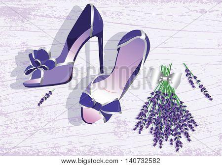 High heels shoes. Lavender shoes Vector illustration