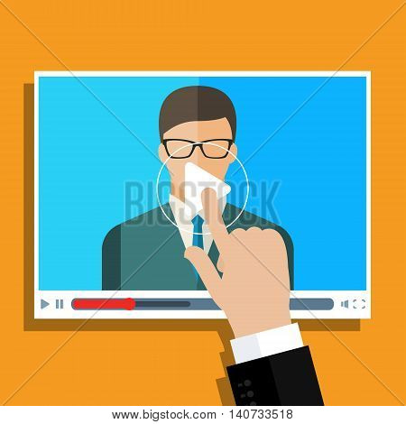 Concept of streaming, study and learning, distance education and knowledge growth. Online conference and webinar icons. Flat design, vector illustration.