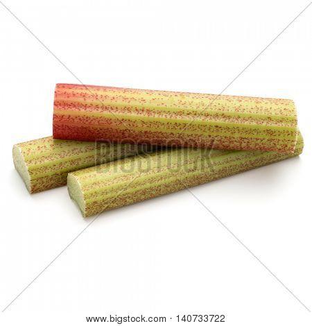rhubarb stem isolated on white background cutout