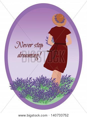 Young woman in a lavender field Vector. Greeting Card or Background. Place for text