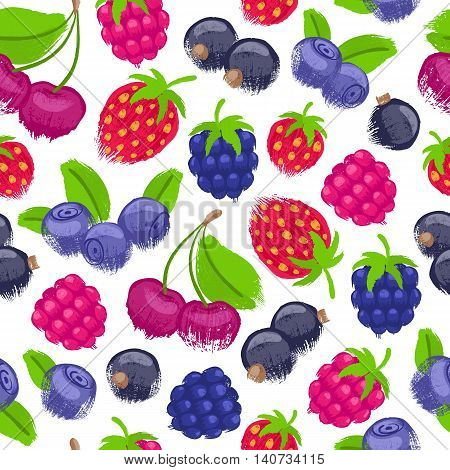 Berries vector seamless pattern. Currant blackberry raspberry blackberry strawberry cherry background. Painted fruits. Hand drawn paintbrush sketch. Good for menu poster flyer restorant grocery store.