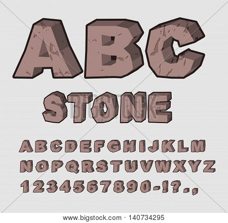 Stone Abc. Rock Font. Set Of Letters From Brown Calculus With Cracks And Chipped. Alphabet Crag