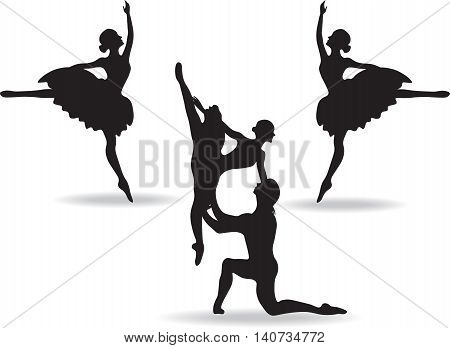 Balerinas Dancers silhouette on white background. Vector illustration
