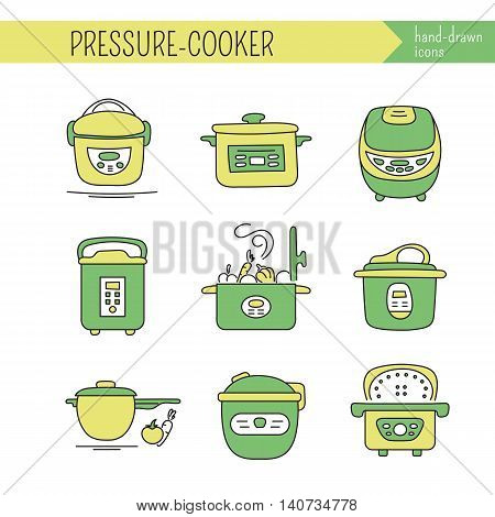 Hand drawn thin line icons set, vector illustration. Pressure cookers. Isolated symbols. Colored pictograms. Simple mono linear modern design.