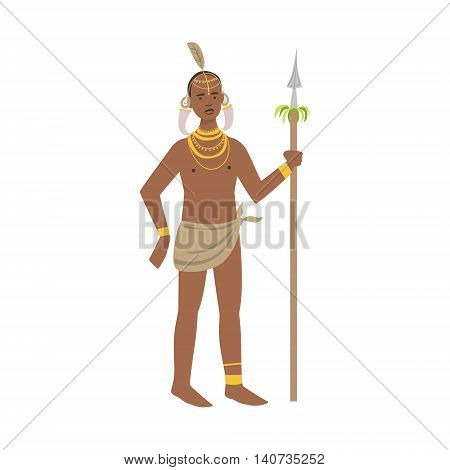 Warrior With Tusks In Ears From African Native Tribe Simplified Cartoon Style Flat Vector Illustration Isolated On White Background