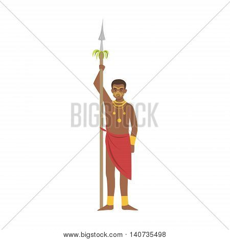 Warrior With Spear From African Native Tribe Simplified Cartoon Style Flat Vector Illustration Isolated On White Background